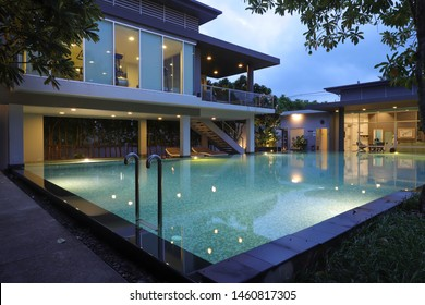 CHIANG MAI,THAILAND-July 24,2019 : A swimming pool in Land and Houses Public Company Limited at Chiang Mai, Thailand.