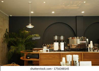 CHIANG MAI,THAILAND-JUNE 12,2020:Interior bar design and counter decoration at 'MOON CAFE AND EATERY' local coffee cafe, breakfast and bakery pastry shop' decorated with wooden furniture in cozy style