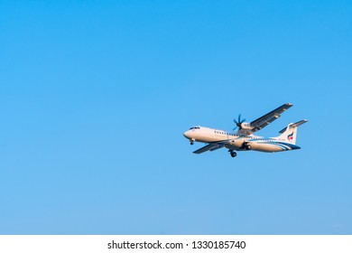 Chiang Mai/Thailand-MAR 2 2019:Bangkok Airways asia,s boutique airlines ATR72-600 type on blue sky landing at Chiang Mai International Airport,Thailand.
