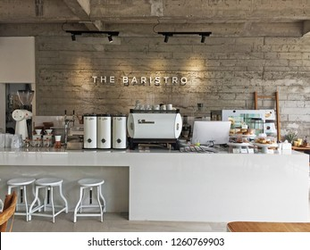 CHIANG MAI,THAILAND-MARCH 10,2018:Cafe architecture and interior design of 'THE BARISTRO ON THE PING' local coffee bar and bakery shop
