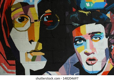 CHIANG MAI,THAILAND-MAY 24 : Graffiti on  a place in the city. It was painted to be the singer as John Lennon, Elvis Presley etc. This place now disappear ,On May 24, 2013 in Chiang Mai, Thailand.