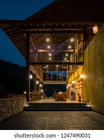 Chiang Mia Mon Cham Thailand November 2018, Onsen Spa Hotel at Mon Jam in the mountains during sunset dusk