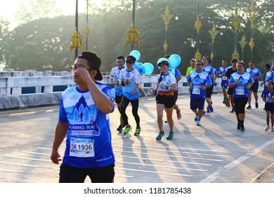 Chiang Rai THAILAND-9:16:2018: Bangkok Airways Chiangrai Marathon 2018  in Chiang Rai Thailand.People. Running at city streets.