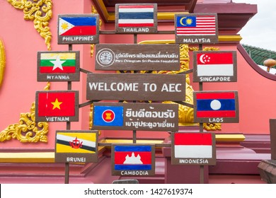 Chiang Rai, Thailand : 06-18-2019 : The nations flag of ten countries in Southeast Asia called ASEAN located at the golden triangle is where Thailand, Burma and Laos meet separated by the river.