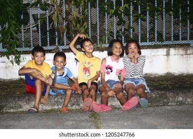 Chiang Rai THAILAND - 10: 17: 2018: uniform children's photography evening in Chiang Rai Thailand.