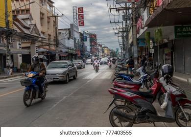Chiang Rai - THAILAND: 12: 18: 2017:Tourists ride motorbikes in Chiang Rai - THAILAND