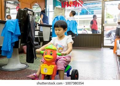 Chiang Rai THAILAND - 12: 7: 2017: Baby barber shop in Chiang Rai Thailand.
