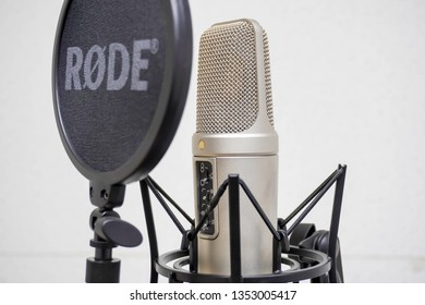 Chiang Rai, Thailand - 29 March 2019: Microphone in the RODE recording studio, white walls. selective focus