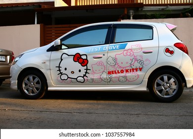 Chiang Rai THAILAND - 3: 3: 2018: wedding car sticker photos kitty in Chiang Rai Thailand.