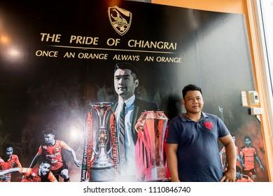 Chiang Rai THAILAND: 6:11:2018: Fan Club of SINGHA Thai Chiang rai United in Premier League (TPL) photo shoot that SINGHA STADIUM.