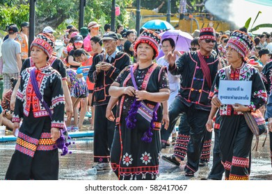 Chiang Rai, Thailand - April 12, 2015 : The Songkran festival parade. Songkran is the holiday known for its water festival.