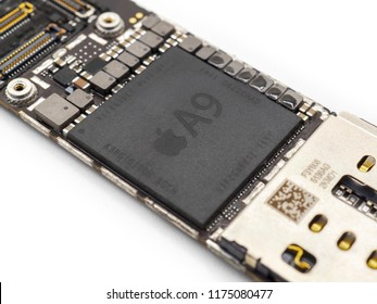 Chiang Rai, Thailand: April 23, 2017 - Close-up image of Apple A9 Microprocessor (CPU) chip on Apple iPhone 6s logic board. Selective focus