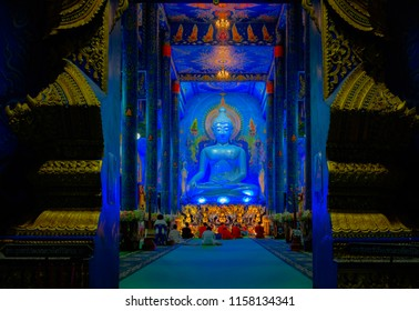 """Chiang Rai / Thailand - Aug 16 2018: The """"Blue Temple"""" or full name is Wat Rong Sue Ten opened for people to see the beautiful decoratetion inside."""
