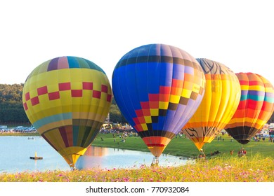 Chiang Rai, THAILAND - DEC 01, 2017:Festival of balloons floating in the sky.  SINGHA PARK