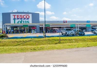 CHIANG RAI THAILAND - Dec 11 2018: Tesco Lotus supermarket in CHIANG RAI THAILAND. Tesco Lotus is a largest hypermarket chain in Thailand.