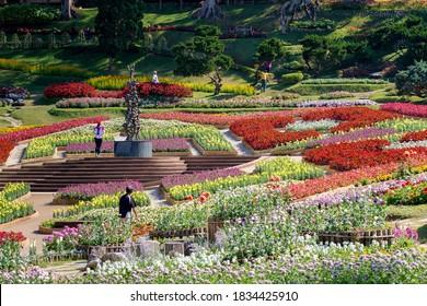Chiang Rai, Thailand- December 11, 2019 : Mae Fah Luang Garden or Doi Tung Royal Villa, Chiang Rai, Thailand on December 11, 2019.
