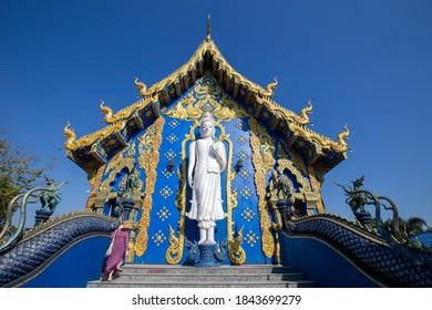 Chiang Rai, Thailand- December 11, 2019 : Beautiful of blue temple Wat Rong Sua Ten the amazing temple at Chiangrai Thailand on Dec 11, 2019.