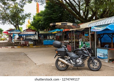 Chiang Rai, Thailand- December, 14, 2018 : Bigbike motorcycle brand Yamaha Steed 500CC at the Golden Triangle, Chiang Rai, Thailand