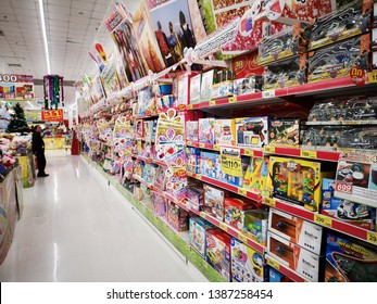 CHIANG RAI, THAILAND - DECEMBER 21: various kinds of toys sold on shelves in supermarket on December 15, 2018 in Chiang Rai, Thailand.