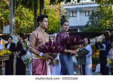 Chiang Rai, Thailand : December 29, 2016. Floral Offerings Festival  1st time of traditional merit making ceremony.The  pageantry.