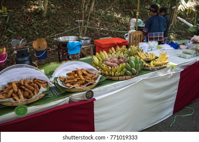 Chiang Rai, Thailand - December 5, 2017: The Colors of Doi Tung Festival returns after last year's success, transforming the mountains of Doi Tung. the Hill Tribe Walking Bazaar