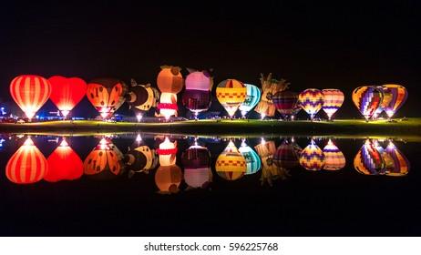 CHIANG RAI, THAILAND - FEBRUARY 12, 2016: Balloon Magic Night Glow at SINGHA PARK CHIANG RAI BALLOON FIESTA 2016, Chiang rai province, Thailand.