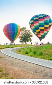CHIANG RAI, THAILAND FEBRUARY 13, 2016:Singha Park Chiang Rai International Balloon Fiesta 2016 will take place between February 10th and 14th at Singha Park Chiang Rai.