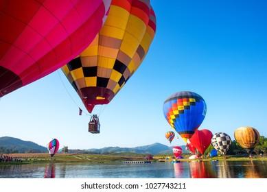 CHIANG RAI, THAILAND FEBRUARY 14, 2018:Singha Park Chiang Rai Hot Air Balloon Fiesta 2018 will take place between February 14th and 18th at Singha Park Chiang Rai.