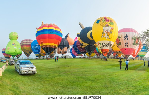 CHIANG RAI, THAILAND - FEBRUARY 14, 2017 :  International Balloon Fiesta 2017  is the festival of happiness at Singha Park Chiang Rai 14- 18 February 2017 northern of Thailand