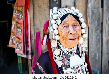CHIANG RAI, THAILAND- FEBRUARY 2019 : Daily lives of women in a white karen village, a subgroup of the Karen hilltribe in a small village near Chiang Rai, Thailand