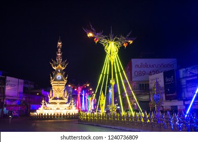 CHIANG RAI, THAILAND - FEBRUARY 21 : Chiang Rai clock-tower and Symphony of spectacular light colors and sound for show travelers people at Chiangrai city on February 21, 2018 in Chiang Rai, Thailand