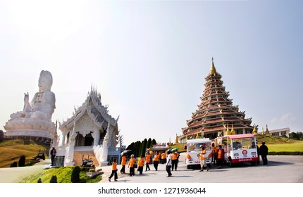 CHIANG RAI, THAILAND - FEBRUARY 22 : Thai people and  foreign travelers visit and respect praying Buddha and Guan yin statues at Wat Huay Pla Kang Temple on February 22, 2018 in Chiang Rai, Thailand