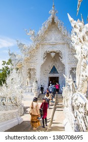 CHIANG RAI, THAILAND - January 05, 2019: Wat Rong Khun (White Temple) is one of the landmark of Chiang Rai Province, Thailand.