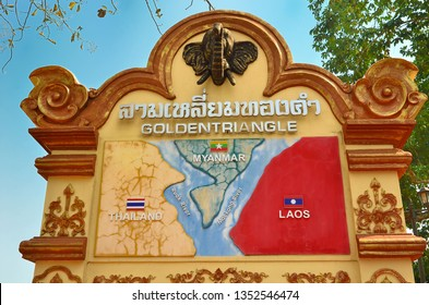 CHIANG RAI, THAILAND - JANUARY 24 2019 :Golden triangle in Thailand. The Golden Triangle designates the confluence of the Ruak River and the Mekong River