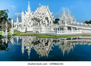 Chiang Rai, Thailand- January 25 2017: Wat Rong Khun, The White Temple, in Chiang Rai province, northem Thailand.