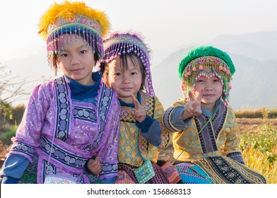 CHIANG RAI, THAILAND, JANUARY 4: Unidentified ethnic minority girls in a traditional dress on January 4, 2011 in Chiang Rai, Thailand. Chiang Rai is a northernmost province in Thailand