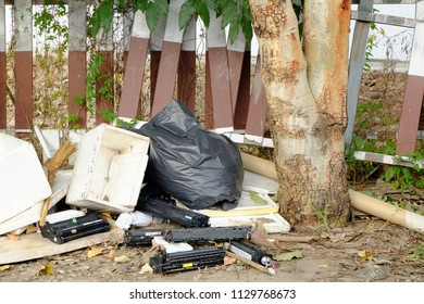 Chiang rai, Thailand - July 06, 2018: Electronic Dump, Laser toner cartridge was left by the road In the city.