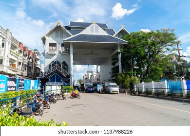 "Chiang Rai, Thailand - July 12, 2018 : Border checkpoint immigration ""Mae Sai"" city top of Thailand next to Tachilek province, Myanmar"