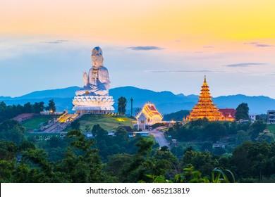 Chiang Rai, Thailand - July 27, 2017 : Wat Hyua Pla Kang (Chinese temple) in Chiang Rai province, Thailand
