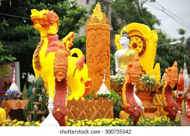 """Chiang Rai, THAILAND - July 28: """"The Candle are carved out of wax, Thai art form of wax(Chiang Rai Candle Festival 2015) on July 28, 2015, Chiang Rai, Thailand"""