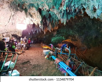 "Chiang Rai ,Thailand - July 3, 2018 : Inside in Tham Luang Nang Non cave  network in northern, Mae Sai, during involved the rescue event of 13 members of a junior football team ""wild boar academy"""