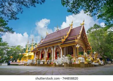 Chiang Rai, Thailand - July 9, 2017 : Wat Phrathat Doi Tung in Chiang Rai province, Thailand