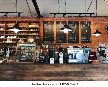 Chiang Rai, Thailand - June 18, 2017: Polar Boulangerie and Patisserie serves fresh roasted coffee, good food and homemade bakery. This cozy cafe decoration makes the customer feel like home.