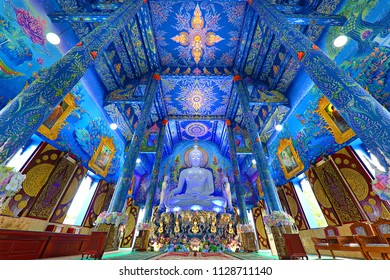 CHIANG RAI - THAILAND - JUNE 22, 2018: Blue Temple known also as Wat Rong Suea Ten, in Chiang Rai, Thailand.