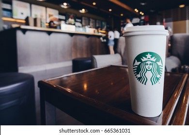 CHIANG RAI, THAILAND- JUNE 23, 2017 : A Venti Starbucks coffee in Starbucks coffee shop.