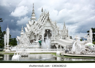 CHIANG RAI, THAILAND - May 05, 2018: Wat Rong Khun (White Temple) is one of the landmark of Chiang Rai Province, Thailand