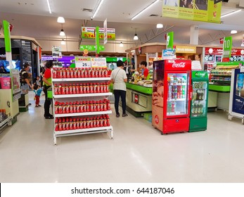 CHIANG RAI, THAILAND - MAY 16 : unidentified customers standing in front of cashier section at supermarket on May 16, 2017 in Chiang rai, Thailand.