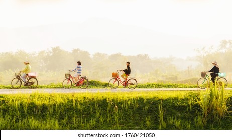 Chiang rai, Thailand, May 17, 2020 : People with face mask riding bicycles on the road beside the rice field. social distancing. in May 17, 2020 at Chiang rai, Thailand.