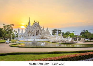 Chiang Rai, Thailand - May 17, 2016: White Temple or Wat Rong Khun is one of the landmark of Chiang Rai Province. It was created by Mr.Chalermchai Kositpipat, the famous Thai artist.