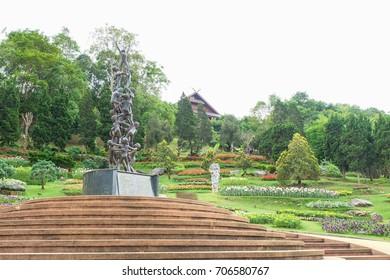 Chiang Rai, Thailand. - May 21 2016: Doi Tung Royal Villa,Statue at The Mae Fah Luang Garden.